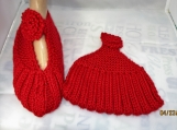KNITTED red color mary jane slippers size medium 6-7