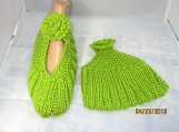 KNITTED  green Mary Jane slippers size 8-9