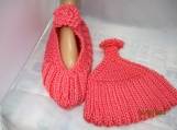 KNITTED Mary Jane slippers peach color size 8-9