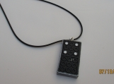 Minature domino necklace with faux leather cord