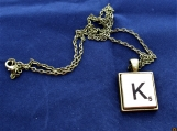 Scrabble initial K necklace with chain