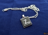 Scrabble tile initial Z necklace  with chain