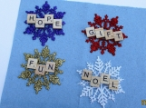set of 4 scrabble ornament/ gift tags