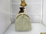 SILVER Crochet small evening purse