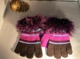 stretch knit gloves  faux fur purple cuff