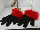 stretch knit glovess faux fur knit cuff,  black with red cuff