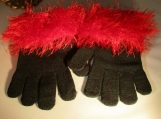 knit gloves  faux fur knit cuff black with red cuff