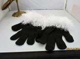 knit streatch gloves  faux fur knit cuff,  black with white cuff
