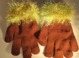 knit gloves  faux fur knit cuff,l brown with green cuff