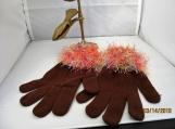 stretch knit  faux fur knit cuff,  brown with multi peach cuff