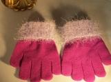 knit gloves faux fur knit cuff,l cranberry with lavender cuff