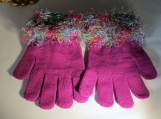 knit gloves  faux fur knit cuff,  cranberry with multi cuff