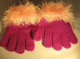 stretch gloves faux fur knit cuff, l cranberry with pink cuff