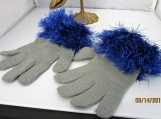 STRETCH KNIT GLOVES faux fur knit cuff, one size fits all gray with blue cuff