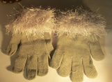 Stretch gloves  faux fur gloves  Gray with gray cuff
