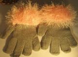 knit winter gloves faux fur knit cuff, grey with pink cuff