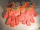 stretch gloves faux fur knit cuff,  peach with multi cuff
