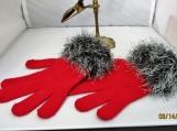 knit stretch gloves faux fur cuff , red with black multi  cuff