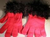 knit stretch gloves faux fur knit cuff, l red with black cuff