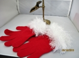 knit stretch gloves  faux fur knit cuff, red  with white cuff