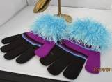 gloves with faux fur knit cuff, turqouis  with multi brown cuff
