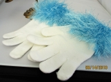 knit gloves faux fur knit cuff,  white with blue cuff