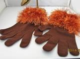 faux fur knit  cuff stretch gloves brown with brown cuff