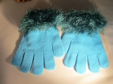 gloves  faux fur knit cuff,  turquoise with dark turquoise cuff
