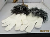 streatch knit  faux fur knit cuff, all white with black cuff