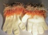 faux fur knit cuff,  white with multi cuff