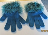 Blue stretch knit gloves  with faux fur cuff one size fits all
