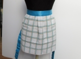 Terry apron turqouise / white check turquoise satin ties