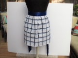 TERRY Apron  white check with navy stripes, navy satin ties