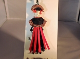 Weird friends lapel  pin or pendant  red fringe skirt skull head