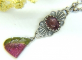 A Slice of Watermelon Necklace - Tourmaline in Silver