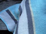 Adult size picnic blanket, blue gray cotton knit crochet blanket