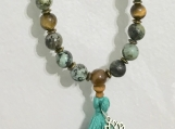 African Turquoise Mala Bead Necklace