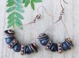 Amethyst statement earrings -Chunky amethyst copper beaded dangle drop earrings