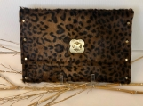 Animal Print Leather Clutch Bag with Bronze Clasp