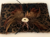 Animal Print Leather Clutch Bag with Feather Brooch
