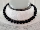 Black necklace, jet black choker, black diamond beaded choker