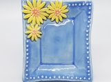 Blue Rectangular Plate with Yellow Flowers