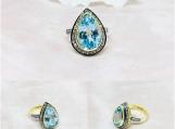 Blue Topaz & Diamond Sterling Silver Ring