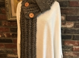 Women's Buttoned Scarf with Pull-Through Loop - Brown Tweed