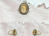Citrine & Diamond Sterling Silver Ring