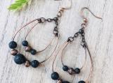 Copper wire earrings -lava beaded double hoop loop copper wire dangle earrings