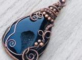 Copper Wire wrapped pendant necklace - Black druzy onyx and copper wire boho hippie chic pendant talisman statement necklace