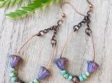 Czech glass earrings - boho copper wire hoop loop Czech glass beaded wire dangle earrings