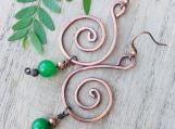 Copper and jade beaded swirl dangle earrings