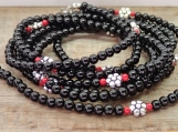 Flower necklace, long boho goth hippi black red gemstone gift